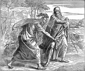 Saul rips Samuel's robe